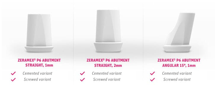 Zeramex P6 Ceramic Implant Sizes